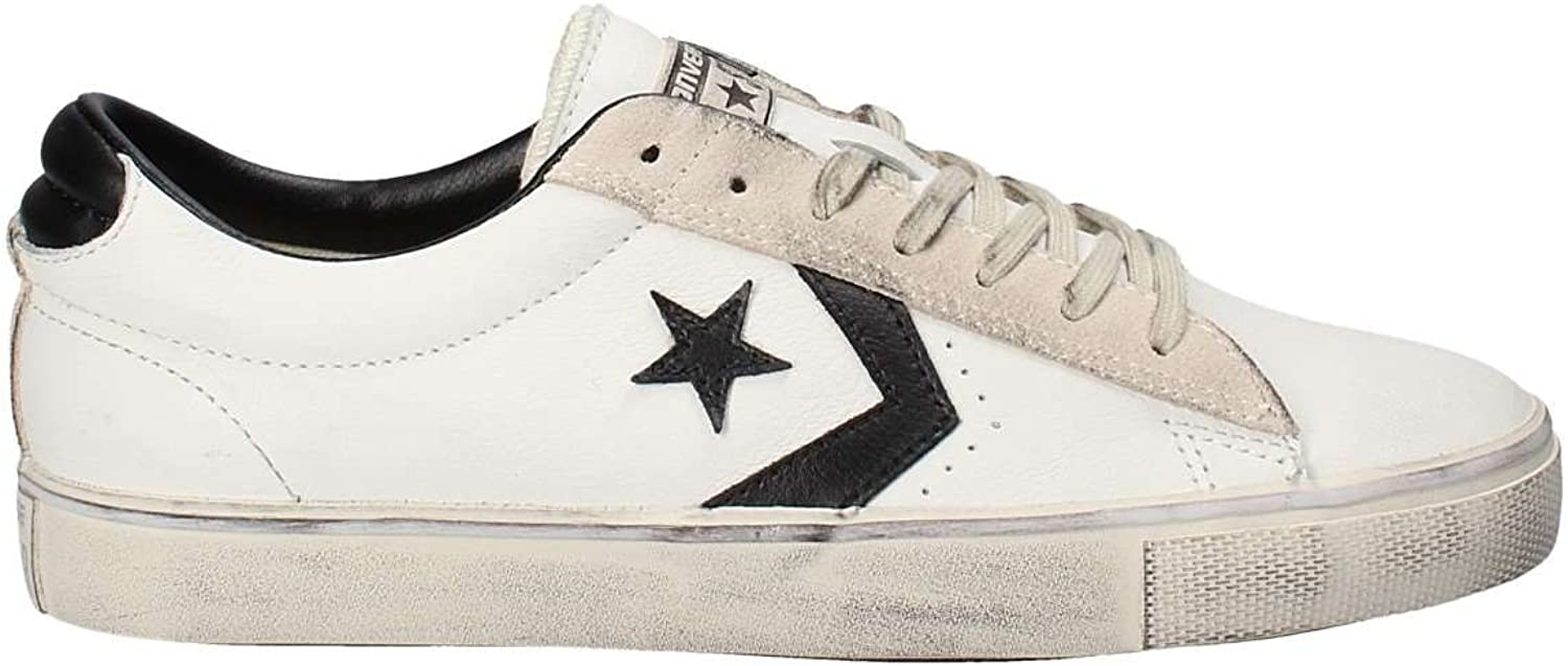 Converse Unisex Adults' Lifestyle Pro Leather Vulc Distressed Ox Low-Top Sneakers, Multicolour (Star White Black Vapgoldus Grey 100), 9 UK