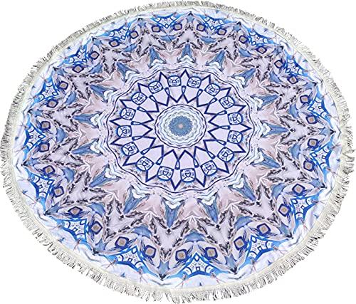 Mantel de Mesa Redonda Diseño Mandalas Modernos Mantel Mesa Camilla Absorbente de 150*150 (Blanco Y Azul)