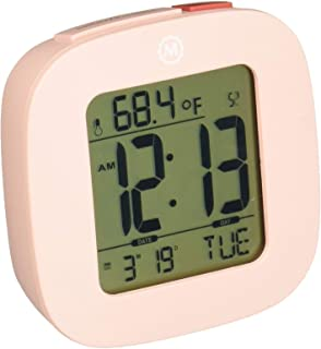 Marathon Small Compact Alarm Clock with Repeating Snooze, Light, Date and Temperature...