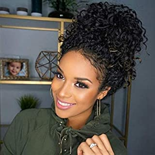Curly 360 Wig Pre Plucked, MS.ILSA Indian Remy Human Hair Wigs for Black Women Glueless 360 Frontal Wigs with Baby Hair and High Ponytail 22inches Natural Color