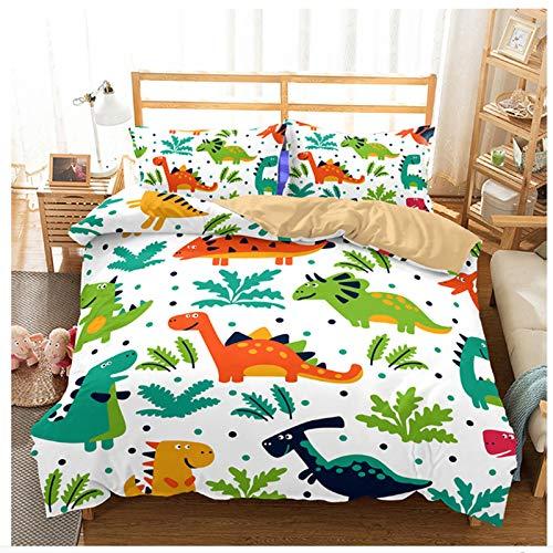 Juego de funda de edredón y funda de almohada para niños (220 x 240 cm), diseño de dinosaurios