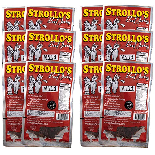 Strollo's Original Mild Beef Jerky Meat Snack 12 Pack- Keto, Paleo, 0g Carb, Low In Sodium, High Protein 0g Sugar - All Natural Beef, USDA Certified