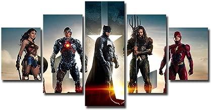 5 panels Justice League Canvas Art Aqua Man arthur curry barry allen Batman bruce wayne Cyborg Flash justice league princess diana victor stone Wonder Women Wall Art Canvas Print Home Decor