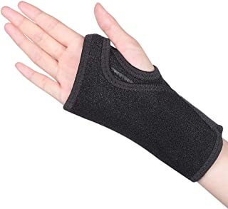 Wrist Brace, Night Wrist Sleep Support Wrist Palm Protector with Removable Splint Stabilizer & Elastic Edged Big Thumb Hole for Carpal Tunnel, Tendonitis, Sports Injuries Pain Relief (Right Hand)