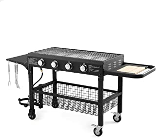 U-MAX 4-Burner Portable Propane Gas Grill, 48000BTU Steel Outdoor Grill Foldable BBQ with four removable wheels for Home, ...