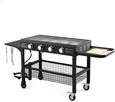 U-MAX 4-Burner Portable Propane Gas Grill, 48000BTU Steel Outdoor Grill Foldable BBQ with four removable wheels for Home, Camping, Party