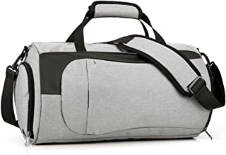 Dry Wet Separated Gym Bag,TEEPAO 21L Large Portable Men Women Shoulder and Back Duffel Bag With Independent Shoes,Toiletries,Umbrellas Storage for Training Basketball Football Fitness(Grey)