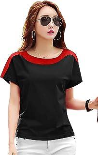 Ytrick Women Black Round Neck Cotton Tshirts