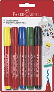FABER-CASTELL TEXTILE MARKERS IN A BLISTER OF 5 COLORS