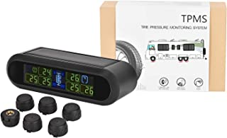 ANSTHER TPMS Solar Charging Wireless Tire Pressure Temperature Monitoring System Anti Shake Feature 6 Sensors Real Time Display for Motorhome Truck Motorcycle