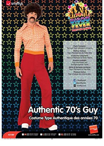 Smiffys, Herren 70er Jahre Typ Kostüm, Oberteil und Hose, rot, M