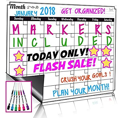 Dry Erase Monthly Calendar Set-Large Magnetic White Board & Grocery List Organizer For Kitchen Refrigerator-Best For Smart Planners