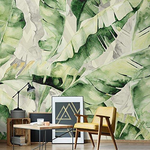 wall81 Lovely Leaves behang, cellulose en textiel milieuvriendelijk, groen, maat S-cm 285 x 300 H