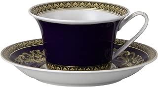Versace Medusa Cup and Saucer for Tea, Porcelain, Blue, 17x 17x 7.7cm