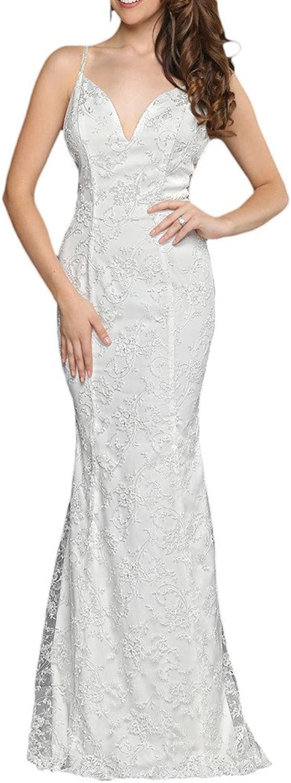 Avril Dress Gorgeous Spaghetti Cross Back Lace Sheath Wedding Prom Dress Long