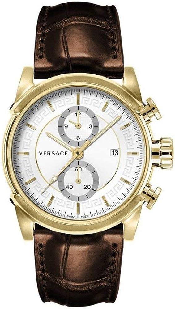 Versace,orologio,cronografo per uomo, in acciaio inossidabile e cinturino in vera pelle 7630030559877