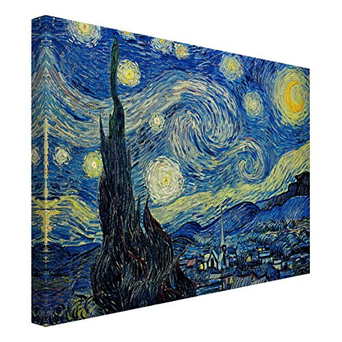 Bilderwelten Cuadro en Lienzo - Vincent Van Gogh - La Noche Estrellada - Apaisado 3:4, Cuadros Cuadro Lienzo Cuadro sobre Lienzo Cuadro Decoracion Cuadros Decorativos Cuadro XXL, Tamaño: 30 x 40cm