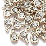 Beadthoven 100pcs Light Golden Teardrop Acrylic Rhinestone Charms Mini Crystal Water Drop Dangle Beads Pendants for Women DIY Jewelry Making Hole: 1mm