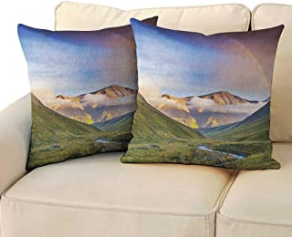 RenteriaDecor Landscape,Travel Pillow Case Serene Meadow with Narrow Riverbed Mountains Rainbow Grass Clouds Mist at Daytime 24