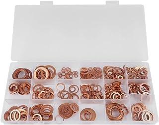 Yongenee Sumidero Plug arandelas, 395pcs buena conductividad eléctrica de cobre sólido plana Anillo arandelas sumidero Plug Surtido 18 Tamaños kit con la caja for los generadores de coches Marinos Her