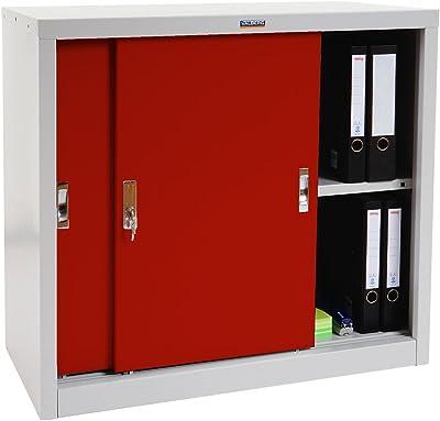 Valberg Meuble-classeur T333, Placard de Bureau en métal, 2 Portes, 83x91x46cm - Rouge