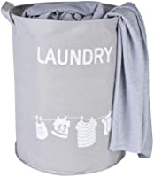 Laundry Basket Large Sized Waterproof Oxford clothFabric Folding Laundry Hamper Bucket Cylindric Storage Baskets for Bedrooms Kids Baby with Stylish Grey 34x45cm