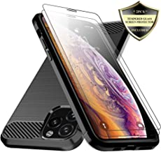 iPhone 11 Pro Case with Tempered Glass Screen Protector,Dahkoiz Shock Absorption iPhone 11 Pro Phone Case Slim TPU Bumper Cover Flexible Lightweight Protective Case for Apple iPhone 11 Pro 5.8