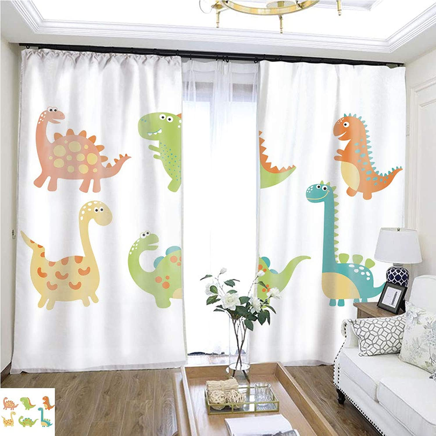 Air Port Screen Cute Dino illustration2 W108 x L82 Provide Heat Highprecision Curtains for bedrooms Living Rooms Kitchens etc.