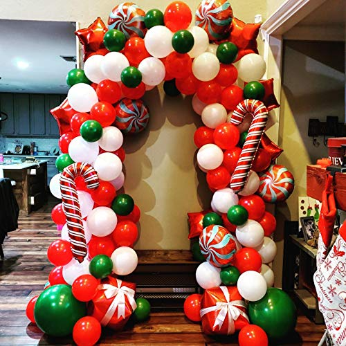 Bonropin Christmas Balloon Garland Arch kit 172 Pieces with Christmas Red White Candy Balloons Gift Box Balloons Red Star Balloons for Christmas Party Decorations