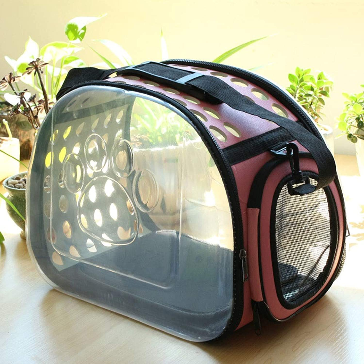FELICIOO Transparent Small And Mediumsized Dogs Out Of The Portable Air Box Breathable Foldable Portable Cat Bag (color   Pink, Size   L)