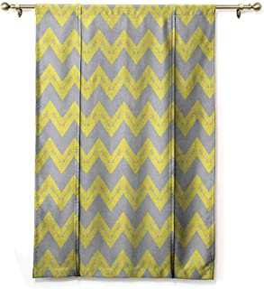 HCCJLCKS Bedroom Windproof Roman Blinds Chevron Zig Zag Pattern with Tribal Native American Arrows Primitive Abstract Design Durable Yellow Pale Grey W35 xL64