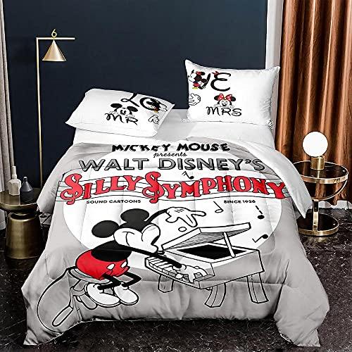 KIrSv Mickey Mouse Funda nórdica con patrón de impresión en 3D,Juego de Ropa de Cama de Dibujos...