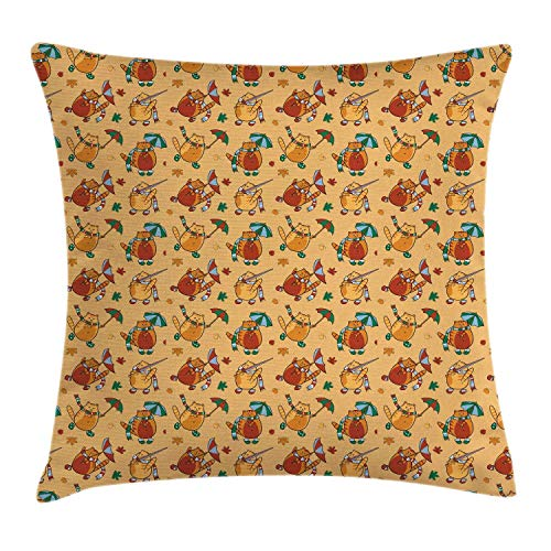 Fleeting Art Studio 16x16in(40x40cm) Square Lovely Hold Pillow Cover Multitude Cartoon Cats Wearing Scarf Bootee Autumnal Composition 3D Print Throw Pillow Cover For Couch Holiday Decor 3Pcs