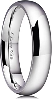 Basic 2mm/3mm/4mm/5mm/6mm/7mm Stainless Steel Ring Original Color Full High Polished with Laser Etched I Love You