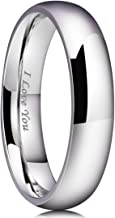 King Will Basic 2mm/3mm/4mm/5mm/6mm/7mm Stainless Steel Ring Original Color Full High Polished with Laser Etched I Love You