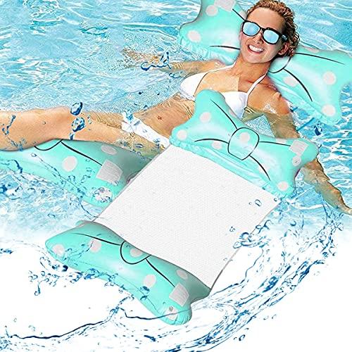 Esteopt Aufblasbares Schwimmbett, Aufblasbare Wasserhängematte, Luftmatratze Pool Aufblasbare Hängematte, Wasser-Hängematte 4-in-1 Loungesessel Pool Lounge für Erwachsene und Kinder (Blau)