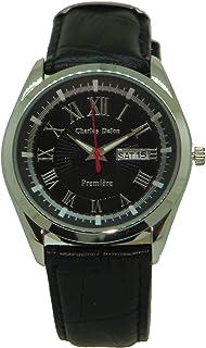 Charles Delon Mens Quartz Watch, Analog Display and Leather Strap 5623 GIBB