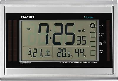 CASIO(カシオ) 置き時計 電波 ソーラー シルバー デジタル 生活環境 温度 湿度 カレンダー 表示 置き掛け兼用 IDS-160J-8JF