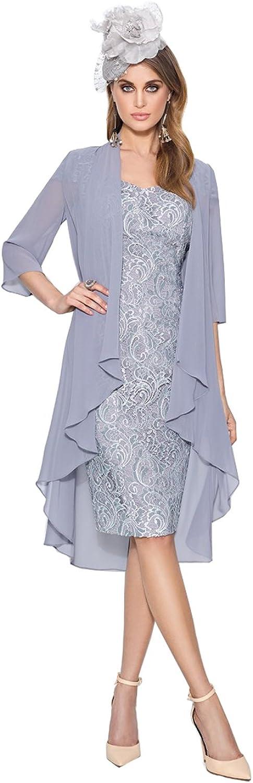 Kelaixiang Mother of The Bride Cap Sleeves Lace Dresses 2 Pcs