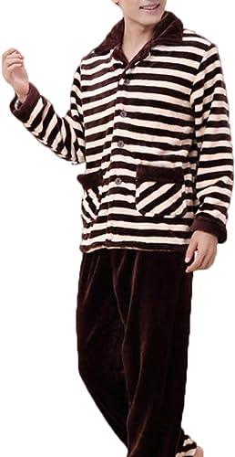 ZJEXJJ Pyjama en Flanelle pour Les Jeunes d'hiver (Couleur   marron, Taille   M)