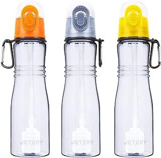 JETERY Sport Water Bottle with Filter, 7050 Personal Hard Side Water Purifier Bottle, Portable Healthy Water Filtration Bottle, Survivor or Emergency Filter Bottle, BPA Free, Leak Proof(Gray)