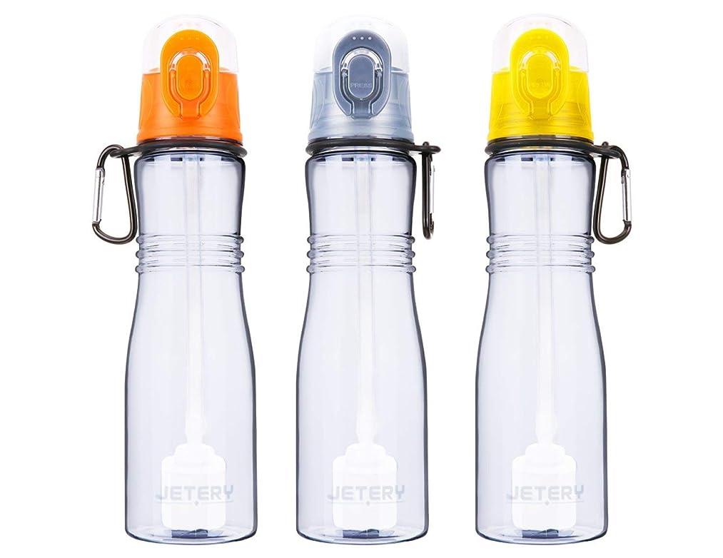 JETERY Sport Water Bottle with Filter, 7050 Personal Hard Side Water Purifier Bottle, Portable Healthy Water Filtration Bottle, Survivor or Emergency Filter Bottle, BPA Free, Leak Proof