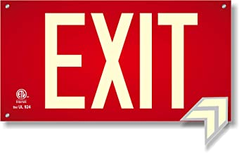 Photoluminescent Exit Sign Red W/Holes and Hardware - Aluminum Code Approved UL 924 / IBC/NFPA 101 (Directional Arrows Inc...