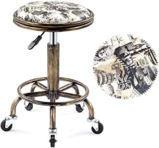 BYX PU Leather Swivel Rolling Stool Height Adjustable Hydraulic Stool Round Retro Double Steel Ring Color Rice Flag and Monroe Graffiti Print Salon Stool with 5 Wheels (33cm)