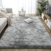 Leesentec Super Soft Indoor Modern Shag Area Silky Smooth Fur Rugs Fluffy Rugs Anti-Skid Shaggy Area Rug Dining Room Home Bedroom Carpet Floor (White Gray, About 5.3×6.5 feet(160×200cm))