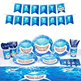 Decorlife Shark Party Supplies for 8, Shark Birthday Decorations for Boys, 58 PCS, Pre-strung Banner, Table Cloth, Plates, Napkins, Cups, Forks, Knives, Spoons Included