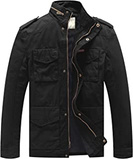 WenVen Men's Cotton Military Casual Stand Collar Windbreaker Field Jacket