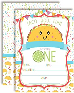 Taco 'Bout Fun Taco Themed First Birthday Fiesta Party Invitations, 20 5