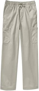 Boys' Pull On Pant with Elastic Waist Band and Front Drawstring (Sidewalk White, XL, 14-16)