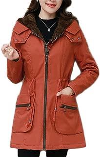 Winter Plus Velvet Jacket, Thick Long-Sleeved Hooded Cotton Coat, Solid Color Ladies Warm Coat (Color : Orange, Size : S)